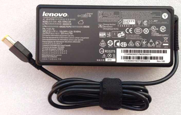 "Original 135W Lenovo Ideapad Y700 15"" 80NW001DUS AC Adapter Charger + Cord"