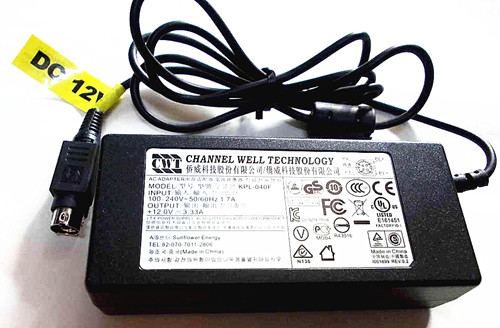 Original OEM 40W 12V 3.33A CWT KPL-040F For Haikang DVR AC Adapter Power Supply Charger